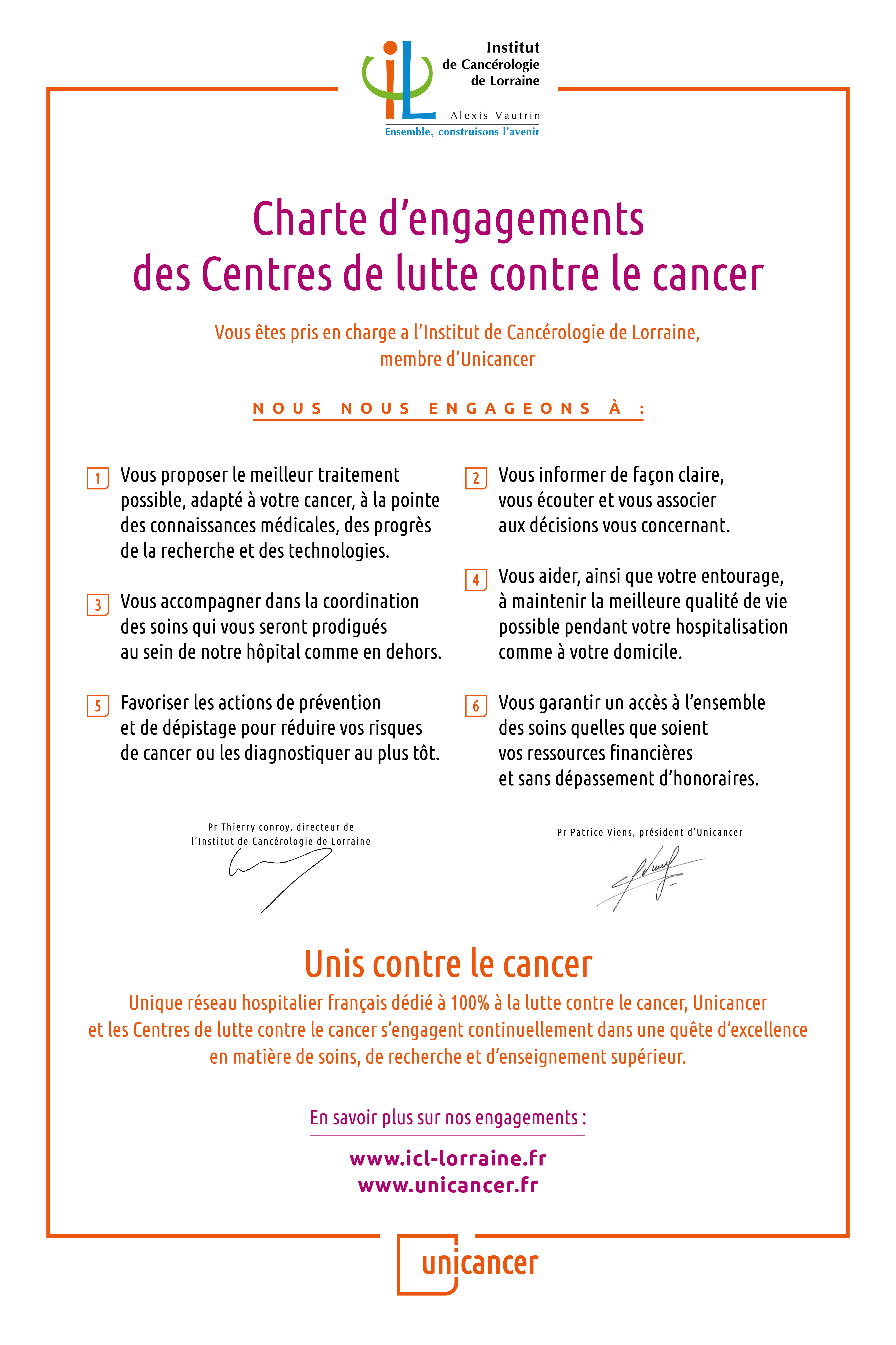 UNICANCER charte engagements Affiche ICL012020